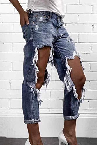 Las Stretch Mezclilla Slim Moda Botón Huixin Acogedor De Pantalones Bolsillos Fit Jeans Mujeres Delanteros Blau Ripped Casual qEOO8tz