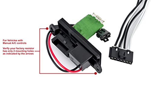 HVAC Blower Motor Fan Resistor Kit and Harness for Manual AC Controls- Replaces 22807122, 15305077, 973-409 - Fits Cadillac Escalade, Chevy Avalanche, Silverado, Tahoe, GMC Sierra, Yukon, XL -