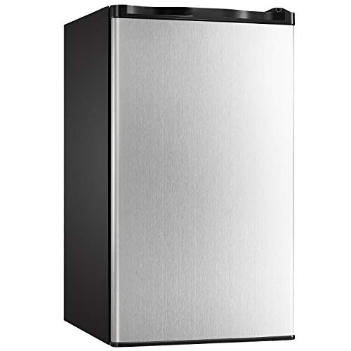 Tavata 3.2 Cu Compact Refrigerator Single Door Mini Fridge with Freezer and Reversible Door,Small Drink Chiller for Home, Office,Dorm or RV (Silver Stainless Steel)
