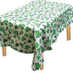 Lucky Irish Green Saint Patrick's Day Shamrocks Flannel-Backed Vinyl Table Cover Party Supply, Vinyl, 52