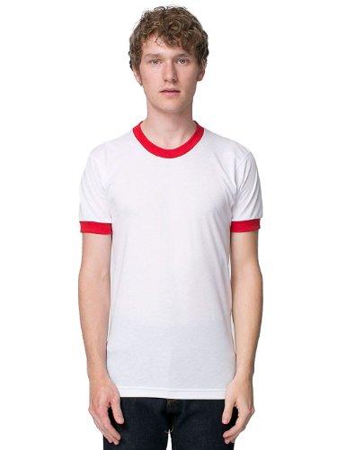 (American Apparel Men 50/50 Crewneck Ringer T-Shirt Size XL White / Red)