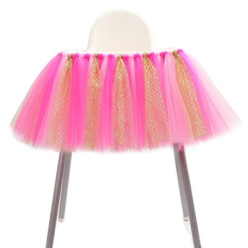 1st Birthday Tutu Skirt for High Chair Decoration for Party Supplies Baby Pink (Hot Pink & Gold - No Banner)