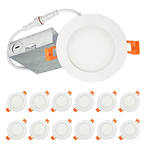 LUXTER (12 Pack) 4 inch Ultra-Thin Round LED Recessed Panel Light with Junction Box, Dimmable, IC Rated, 12W (60 Watt Repl.) 5000K Daylight 900 Lm. No Can Needed ETL & Energy Star Listed
