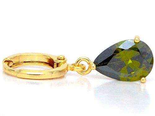 véritable 18K boucles d'oreilles pendantes gouttes/or jaune avec émeraude Vert transparent type de pierres précieuses noir avec boîte à bijoux