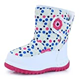 CIOR Kid Snow Boots Winter Outdoor Waterproof with Fur Lined for Girls & Boys (Toddler/Little Kid/Big Kid) TX4,White,25