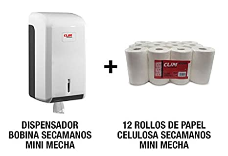Pack que incluye dispensador de bobinas de papel mini mecha para secar las manos y 12