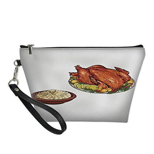 makeup bag pouchcosmetic carrying bagWhole roasted turkey and bowl of mashed potato -