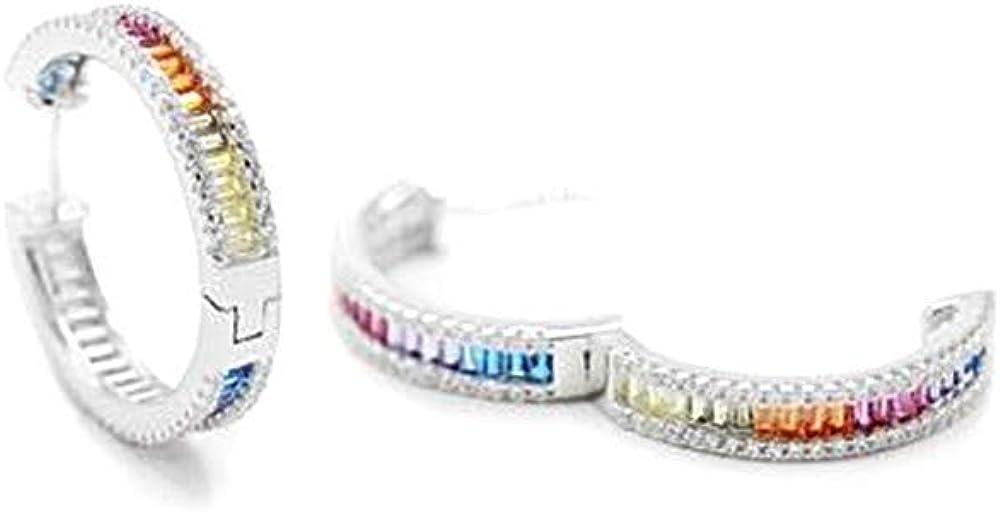 Pendientes Lineargent plata Ley 925m aros 22mm. rodiados carril circonitas blancas multicolor