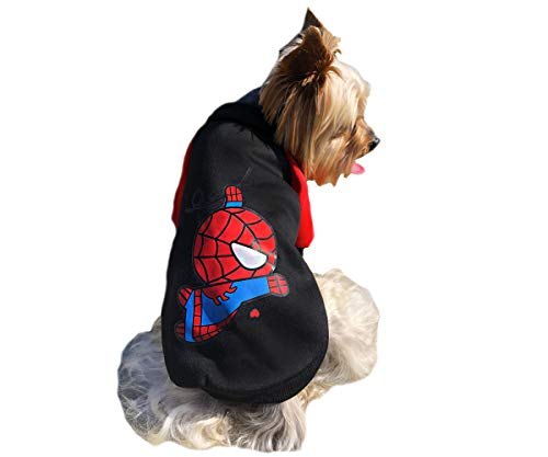Red Black Blue Dog Pet Clothes for Small Dogs Cat Sweater Hoody The Avengers Super Hero Spiderman Halloween Marvel M]()