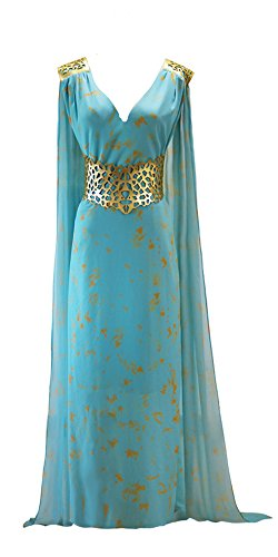 Women Game of Thrones Daenerys Targaryen Style Costume Blue Chiffon Dress (Large)