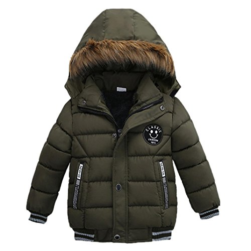 Nevera 2-5T Fashion Kids Coat Boys Girls Thick Warm Zip Coat Padded Winter Jacket Clothes (3T, Green)