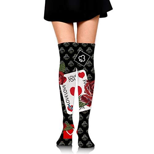 MFMAKER Womens Spring Fall Winter Over Knee Leg Warmer Thigh High Tube Boot Socks Girls Leggings Red Rose Poker Love Stockings