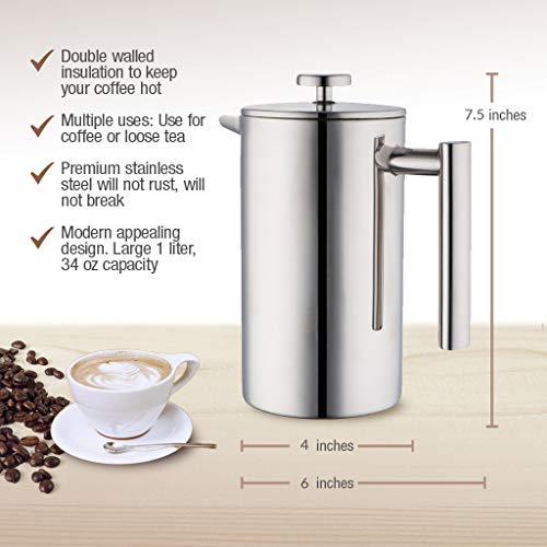 MIRA 34 oz Stainless Steel French Press Coffee Maker with 3 Extra Filters | Double Walled Insulated Coffee & Tea Brewer Pot & Maker | Keeps Brewed Coffee or Tea Hot | 1000 ml (Copper)