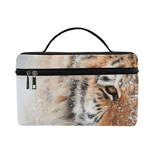 Portrait Of Siberian Tiger Panthera Tigris Altaic Pattern Lunch Box Tote Bag Lunch Holder Insulated Lunch Cooler Bag For Women/men/picnic/boating/beach/fishing/school/work