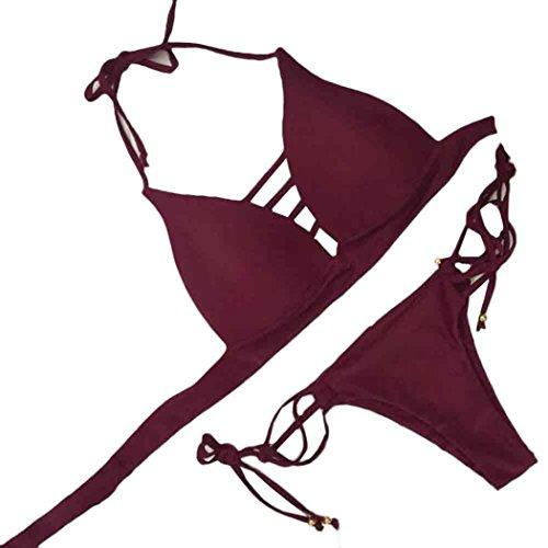 Price comparison product image Women Swimwear, FUNIC Women's Bikini Set Swimwear Push-Up Padded Bra Beachwear (Large,  Wine Red)