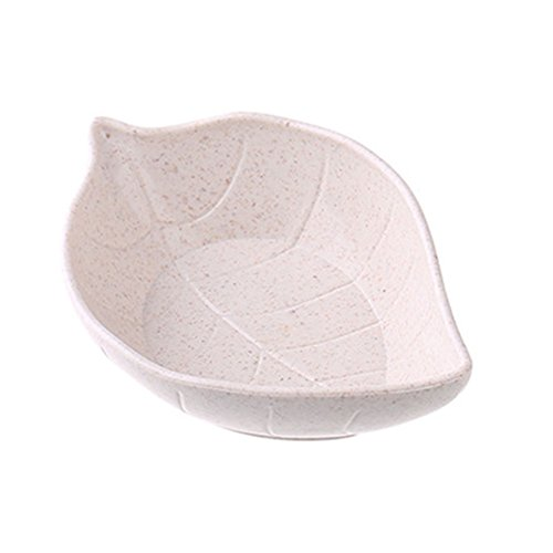 (Baost Creative Leaf Shape Wheat Straw Seasoning Dish Sauce Dipping Bowls Vinegar Mini Dinnerware Plate Sauce Serving Dishes Condiment Dish for Paste, Jam, Appetizer, Snack Beige)
