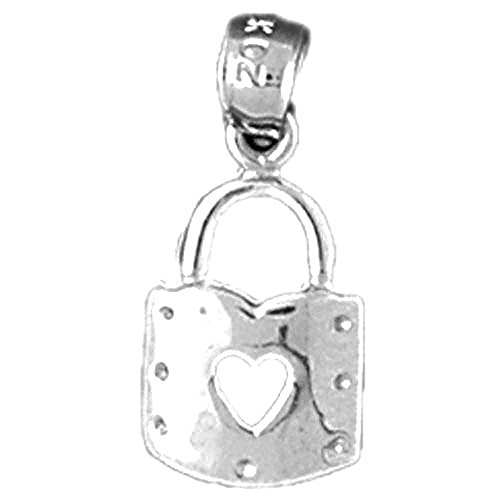 Jewels Obsession Heart Padlock | 14K White Gold Heart Padlock, Lock Pendant - 19 mm