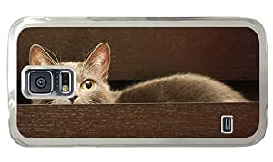 Hipster wholesale Samsung Galaxy S5 Cases hiding cat eyes PC Transparent for Samsung S5