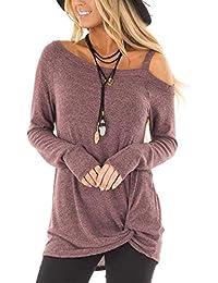 Women's Cold Shoulder T-Shirt Long Sleeve Knot Twist...