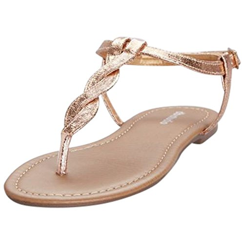 David's Bridal Twisted T-Strap Sandals Style Kendall, Rose Gold, 9
