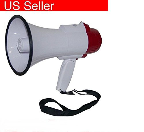 New Megaphone Bullhorn with Siren speaker For Coaches Professional Repeat Recorded Audio Power 30 Watts Weight 1.15 Lb