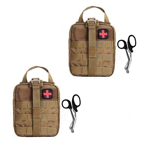 Compact Tactical MOLLE Rip-Away EMT Medical First Aid Utility Pouch 1000D Nylon Carlebben (Tan with First Aid Patch(2 Pack))