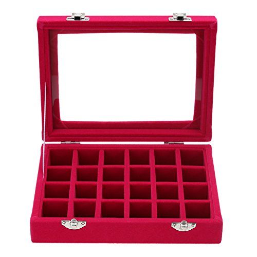 Red Ring Display Box (Jocestyle Velvet Glass Earrings Ear Studs Display Box Jewelry Holder Storage Organizer Case (01 24 Grids Red))