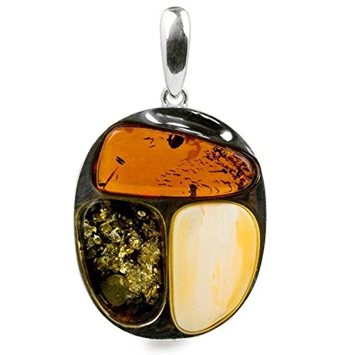Sterling Silver Multicolor Amber Abstract Stones Oval Pendant - Oval Amber Stone