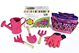 Taylor Toy Children Gardening Tool Set - Gardening Toys for Kids - Outdoor Toys with Bag (Pink)