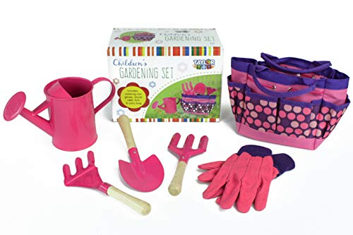 Taylor Toy Children Gardening Tool Set - Gardening Toys for Kids - Outdoor Toys with Bag (Pink) ()