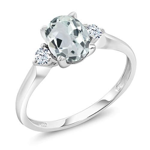 - Gem Stone King 10K White Gold 1.20 Ct Sky Blue Aquamarine White Created Sapphire 3-Stone Ring (Size 9)