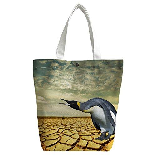 Violetpos Benutzerdefiniert Canvas Handtasche Einkaufstaschen Umhängetasche Schultasche Lunch-Tasche Pinguine auf dem Trockenen 3dH5JfC