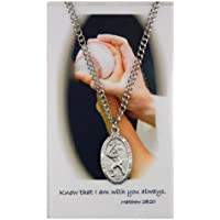 Pewter Saint Christopher Baseball Medal on Nickel Chain for Boys, 1 Inch
