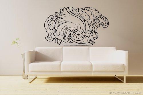 Fancy Filigree 1 Corner Border Design Vinyl 30 inch Wall Decal Home Decor Pattern Avante Garde Scroll Feathers Floral