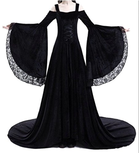 ainr Women Medieval Vampire Gothic Renaissance Dress Gown Black L