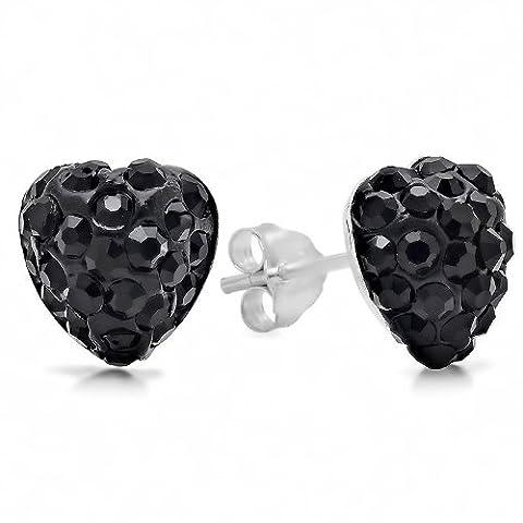 .925 Sterling Silver Black Crystal Heart Shape 6mm Stud Earrings