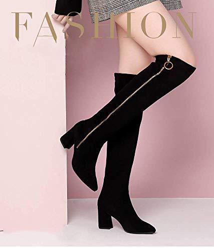 Mujer Boots Zapatos Mujer De Botas Para La Tacón Alto Negro Altas Sobre Rodilla rqrEw6Ta