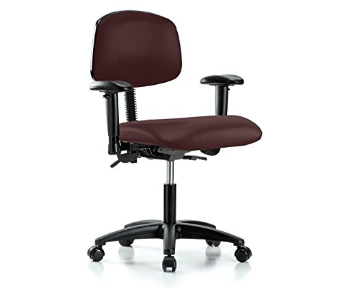 Perch Multi Task Swivel Chair with Wheels for Carpet or Linoleum, Desk Height, Burgundy Fabric (Multi Task Burgundy Chair)
