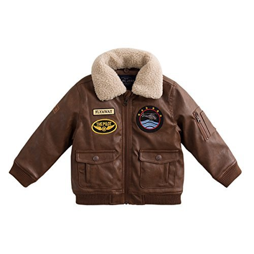 (marc janie Baby Boys' Military Flight Leather Bomber Jacket Coffee 70125 24 Months)