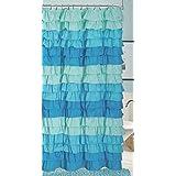 Dainty Home Venezia Ruffled Shower Curtain, 72 by 72-Inch, Blue