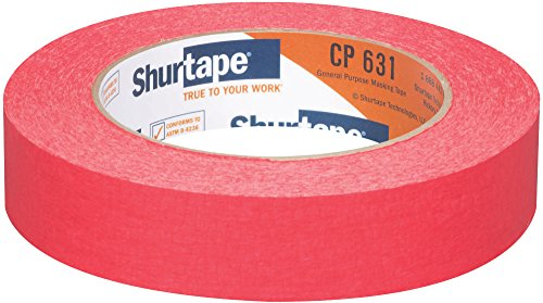 Shurtape CP 631 General Purpose Grade, Medium-High Adhesion Colored Masking Tape, 24mm x 55m, Red, Case of 36 Rolls ()