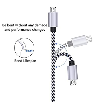 Dual USB Car Charger, FiveBox Phone Car Charger Adapter with 2 Pack Braided Micro USB Charging Cable 6ft Android Charger Cord for Samsung Galaxy S6/S7 Edge, J3 J7, LG stylo 2/3 Plus, LG G4 G3 K20 Plus: Electronics