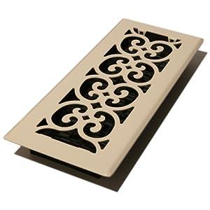 Decor Grates FS412-AL 4-Inch by 12-Inch Scroll Metal Floor Register, Almond