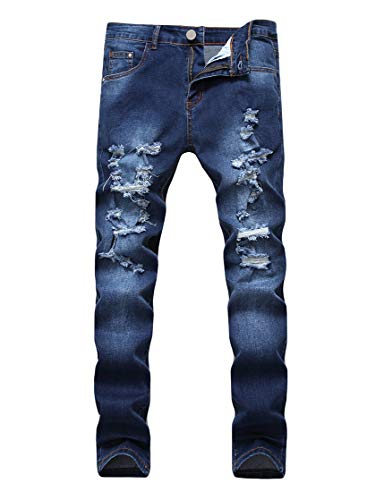 Enrica Men's Ripped Skinny Destroyed Holes Jeans Slim Fit Denim Pants Navy Blue, 38