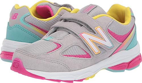 New Balance Girls' 888v2 Hook and Loop Running Shoe, Grey/Rainbow, 2 M US Little Kid ()
