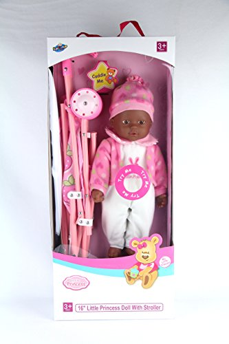 "Search : Lollipop Toys Little Princess African American Doll with Stroller, 16"" L"