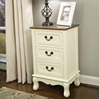 Two-Tone 3-Drawer Accent Table, Antique White/Honey Nut Top