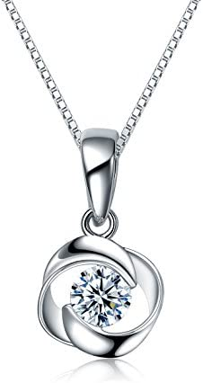 S925 Silver Snowflake Necklace for Girls Girlfriends White Cubic Zirconia Pendants ANAZOZ Women Jewelry