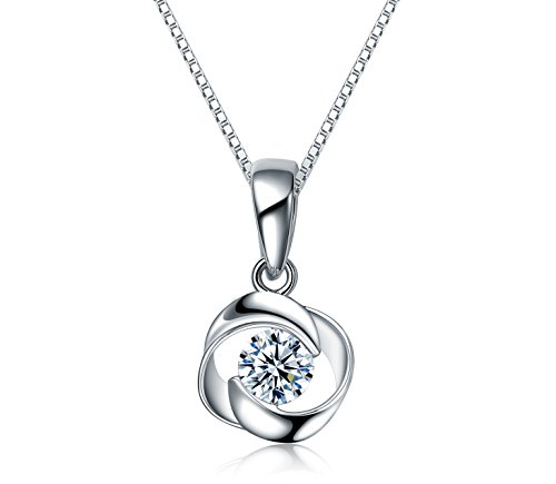 (Rose Pendant Necklace Swarovski Zircon Jewelry for Women Girls Ideal Christmas Gifts Birthday Gifts for Daughter Granddaughter Girlfriend Mother Wife (Necklace))