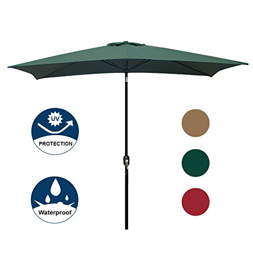 Blissun Rectangular Patio Umbrella Outdoor Market Table Umbrella with Push Button Tilt and Crank, 6.5 by 10 Ft (Green) (Patio Umbrellas Rectangular)